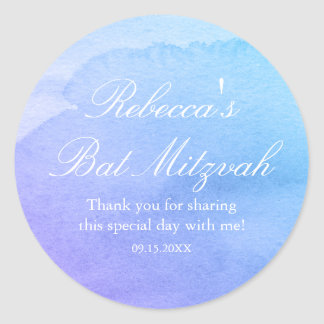 Purple and Teal Watercolor Bat Mitzvah Favor Classic Round Sticker