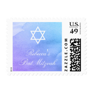 Purple and Teal Watercolor Bat Mitzvah Postage Stamp