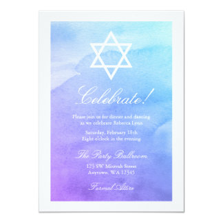 Purple and Teal Watercolor Bat Mitzvah Reception Card