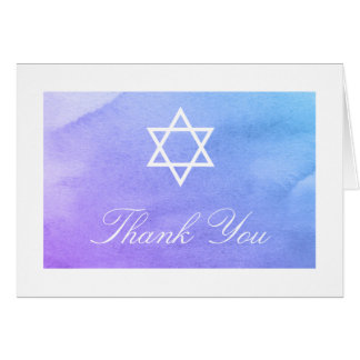 Purple and Teal Watercolor Bat Mitzvah Thank You Card