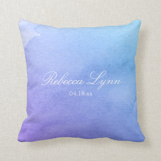 Purple and Teal Watercolor Bat Mitzvah Throw Pillow