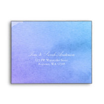 Purple and Teal Watercolor RSVP Return Address A2 Envelope