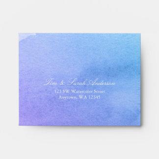 Purple and Teal Watercolor RSVP Return Address A2 Envelope