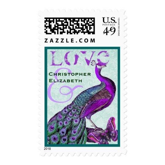 Purple and Teal Wedding LOVE Peacock Postage
