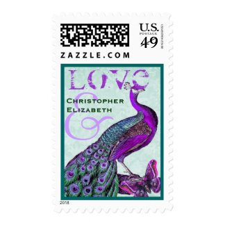 Purple and Teal Wedding LOVE Peacock Stamps