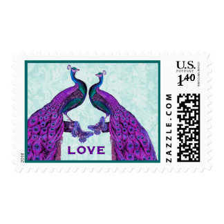 Purple and Teal Wedding LOVE Peacock V2 Postage Stamps