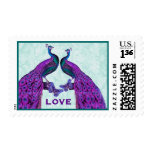 Purple and Teal Wedding LOVE Peacock V2 Stamp