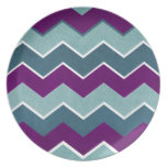 Purple and Teal Zig Zag Pattern Dinner Plates