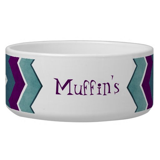 Purple and Teal Zig Zag Pattern Dog Bowl