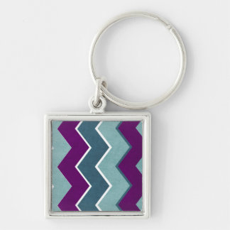 Purple and Teal Zig Zag Pattern Keychains