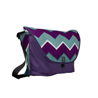 Purple and Teal Zig Zag Pattern Courier Bags
