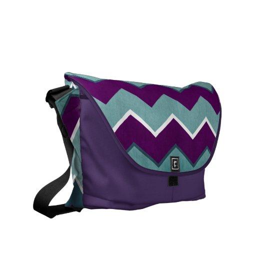 Purple and Teal Zig Zag Pattern Messenger Bag