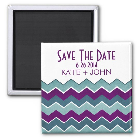 Purple and Teal Zig Zag Save The Date Magnet