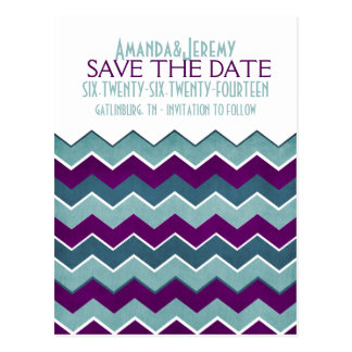 Purple and Teal Zig Zag Save The Date Post Card
