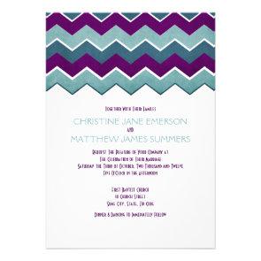 Purple and Teal Zig Zag Wedding Invitations