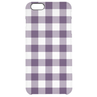 Purple and Transparent Gingham Clear iPhone 6 Plus Case