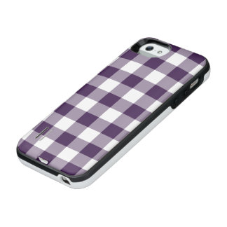 Purple and Transparent Gingham iPhone SE/5/5s Battery Case