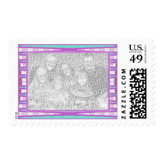 purple and turquoise abstract postage stamps
