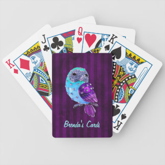 Purple and Turquoise Bejeweled Owl Card Deck