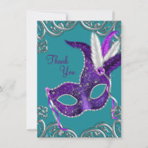 Purple and Turquoise Blue Masquerade Thank You