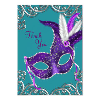 Purple and Turquoise Blue Masquerade Thank You Invitations