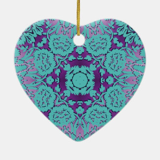 Purple and Turquoise Embossed Damask Pattern Ceramic Ornament