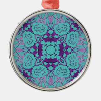 Purple and Turquoise Embossed Damask Pattern Metal Ornament