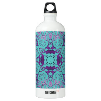 Purple and Turquoise Embossed Damask Pattern Water Bottle