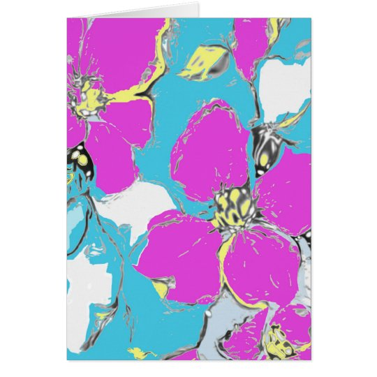 Purple and Turquoise Floral Design Card