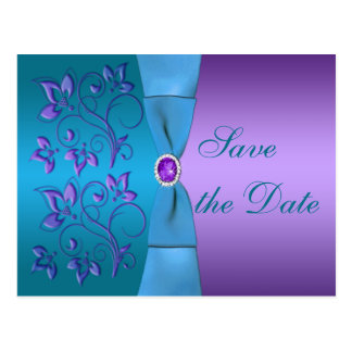 Purple and Turquoise Floral Save the Date Postcard