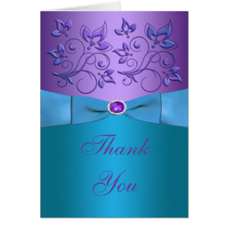 Purple and Turquoise Floral Thank You Card