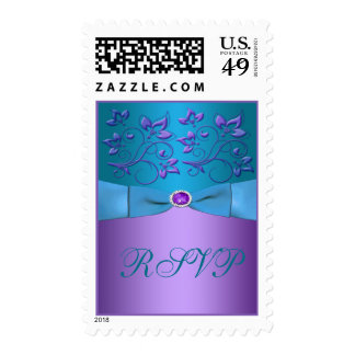 Purple and Turquoise Floral Wedding Postage
