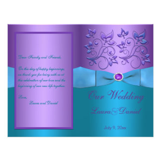 """Purple and Turquoise Floral Wedding Program 8.5"""" X 11"""" Flyer"""