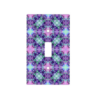 Purple and Turquoise Hippy Fractal Pattern Light Switch Cover