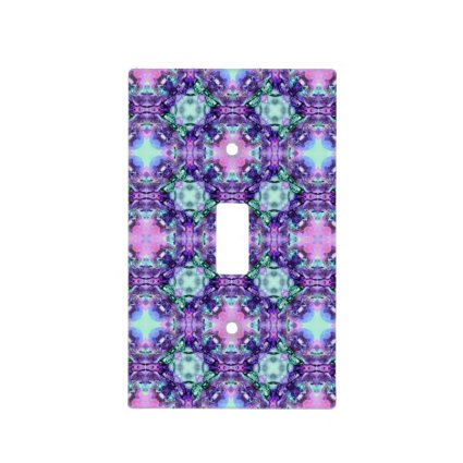 Purple and Turquoise Hippy Fractal Pattern Light Switch Covers