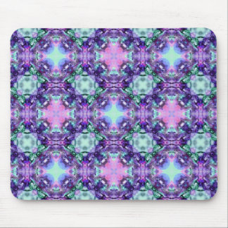 Purple and Turquoise Hippy Fractal Pattern Mouse Pad
