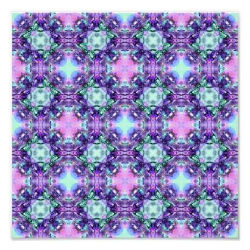 Purple and Turquoise Hippy Fractal Pattern Photo Print