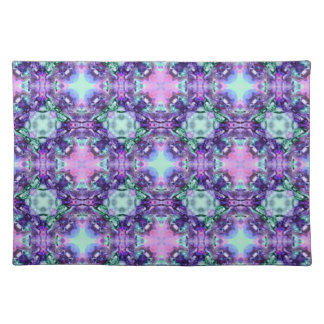 Purple and Turquoise Hippy Fractal Pattern Placemat