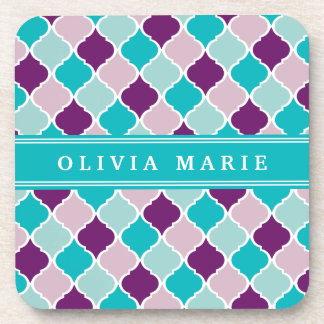 Purple and Turquoise Lattice Pattern with Name Beverage Coaster