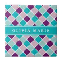 Purple and Turquoise Lattice Pattern with Name Tile