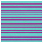 [ Thumbnail: Purple and Turquoise Lines/Stripes Pattern Fabric ]