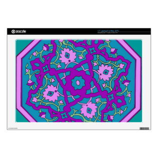 "Purple and Turquoise Persian Mandala Decal For 17"" Laptop"