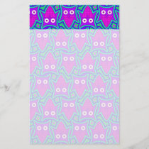 Purple and Turquoise Psychedelic Owl Pattern