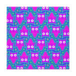 Purple and Turquoise Psychedelic Owl Pattern Gallery Wrapped Canvas