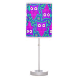 Purple and Turquoise Psychedelic Owl Pattern Table Lamp