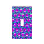 Purple and Turquoise Psychedelic Owl Pattern Light Switch Covers