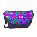 Purple and Turquoise Psychedelic Owl Pattern Messenger Bags