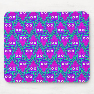 Purple and Turquoise Psychedelic Owl Pattern Mouse Pad