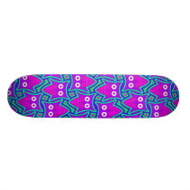 Purple and Turquoise Psychedelic Owl Pattern Skateboard Deck