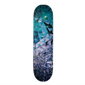 Purple and turquoise, TRIANGLE and reflections Custom Skateboard